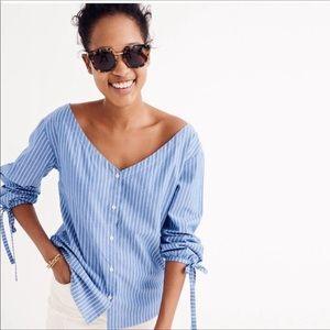 Madewell Tops - Madewell Morningview Blue & White Striped Shirt